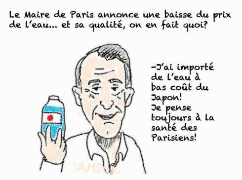 bertrand delanoé maire de paris baisse du prix de l'eau grâce a l'exportation d'eau de fukushima