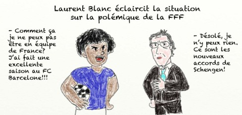 Laurent Blanc equipe de France caricature racisme Black Blanc Beur Schengen immigration Italie