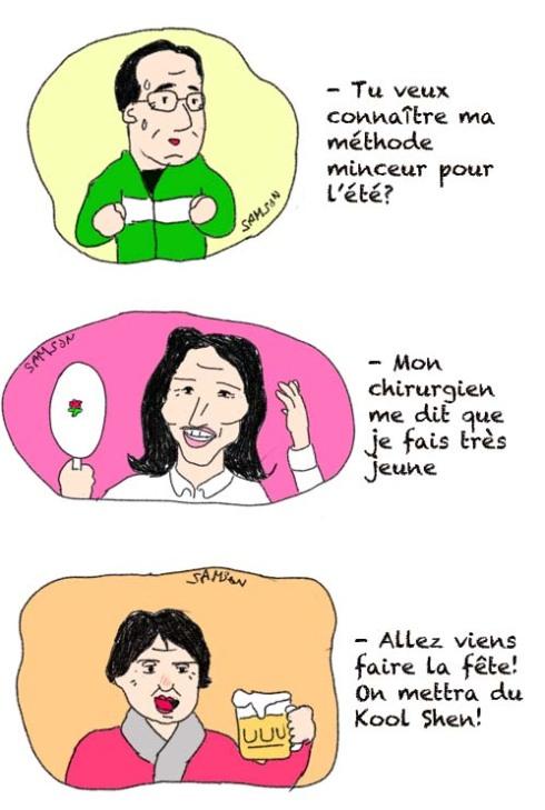 caricature martine Aubry Segolene royal Hollande alcool régime biere chirurgie plastique jeunesse