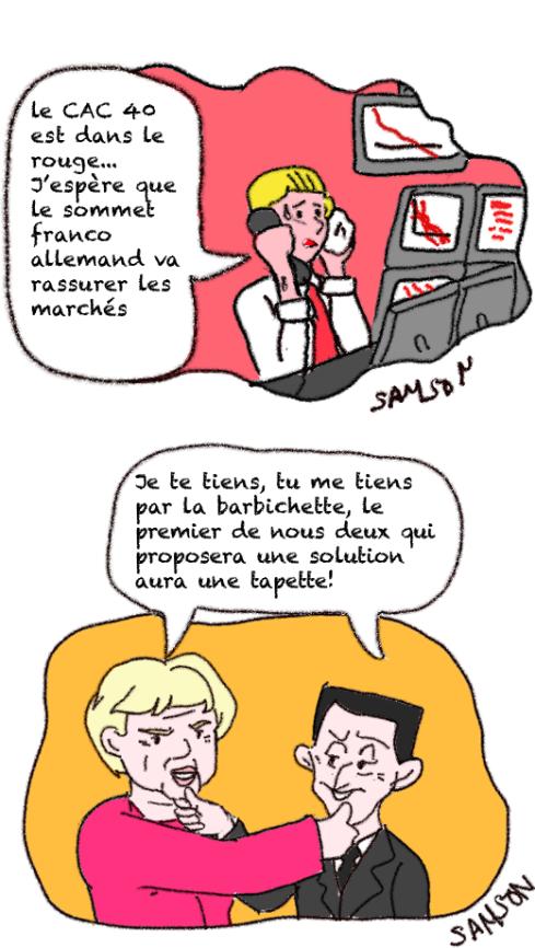 Sommet franco allemand Merkel Sarkozy finance bourse
