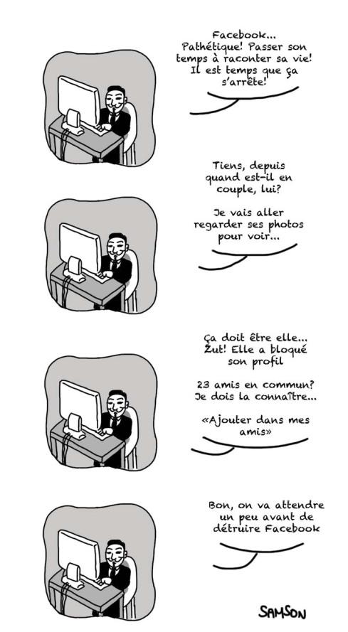 Anonymous Détruire facebook privacité non respect vente de données personnelles entreprises caricature brouillon