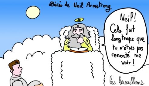 Dieu Neil Armstrong dieu décès paradis lune caricature