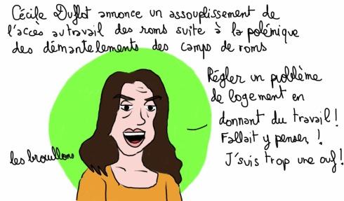 Duflot roms camps démantelements Valls Lille Ministre Travail assouplissement logement