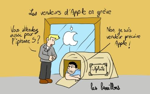 iPhone 5 tente SDF vendeur précaire file d'attente Apple