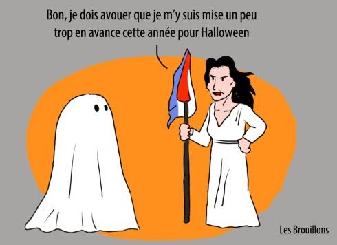 segolene royal et halloween fantome PS caricature liberté guidant le peuple