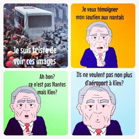 Ayrault kiev Nantes emeutes manifestations réaction caricature dessin gauche
