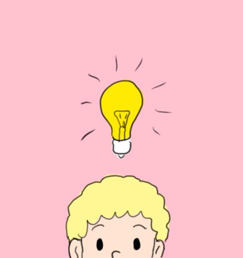 avoir une idee dessin ampoule garçon fond rose